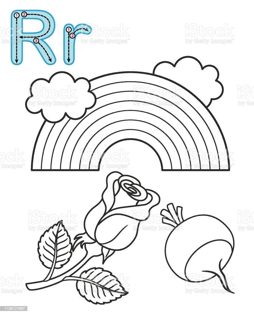 - Letter R Rose Radish Rainbow Vector Coloring Book Alphabet