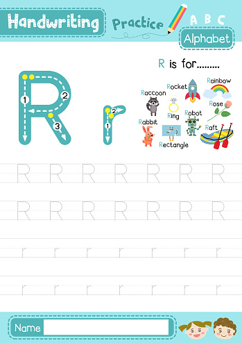 Letter R uppercase and lowercase tracing practice worksheet A4