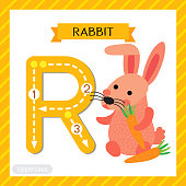 Letter R uppercase cute children colorful zoo and animals ABC alphabet tracing flashcard of Pink Rabbit holding carrot for kids learning English vocabulary and handwriting vector illustration.