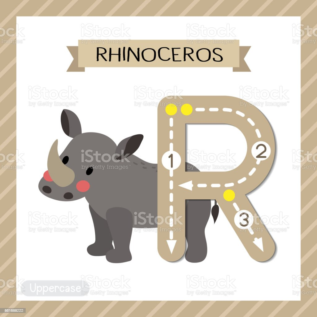 Letter R uppercase tracing. Standing Rhinoceros vector art illustration