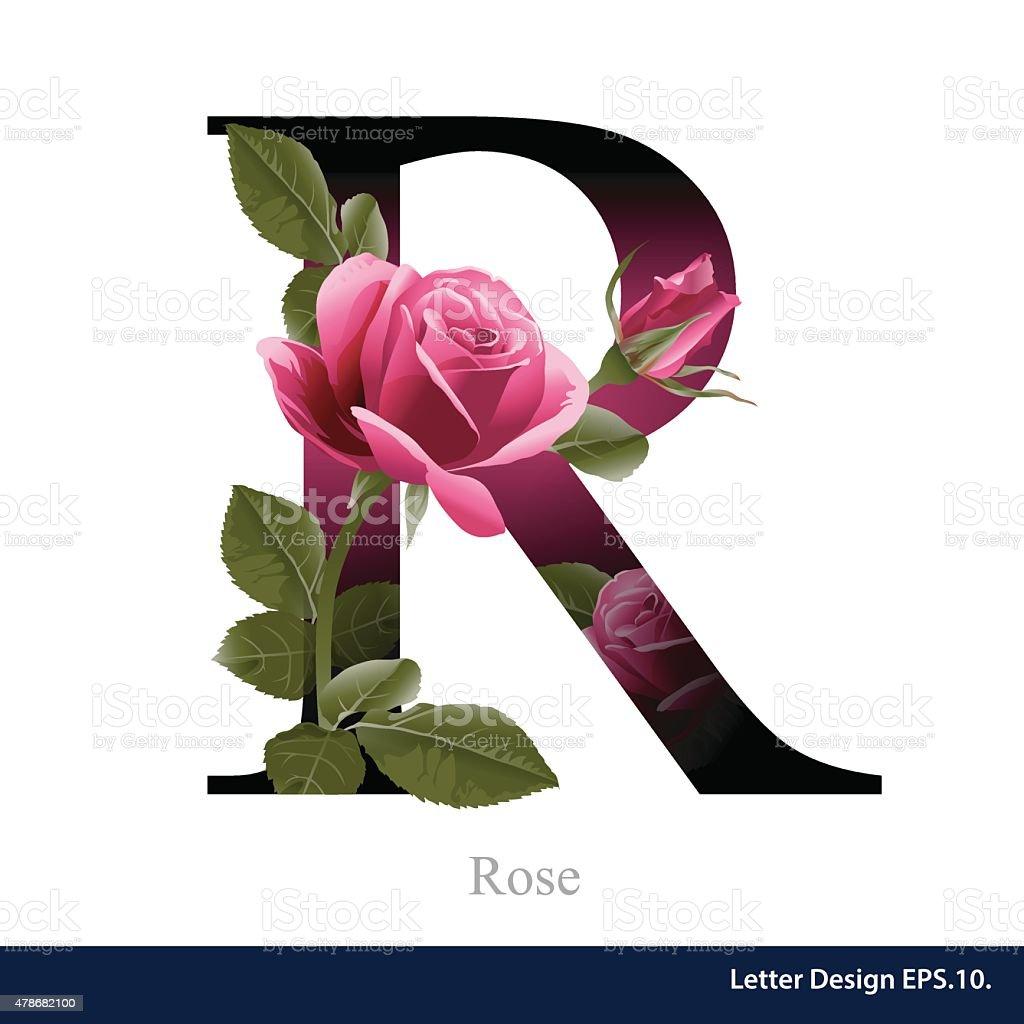 Buchstabe R Vektor alphabet mit Rosen Blume. ABC-Konzept. – Vektorgrafik