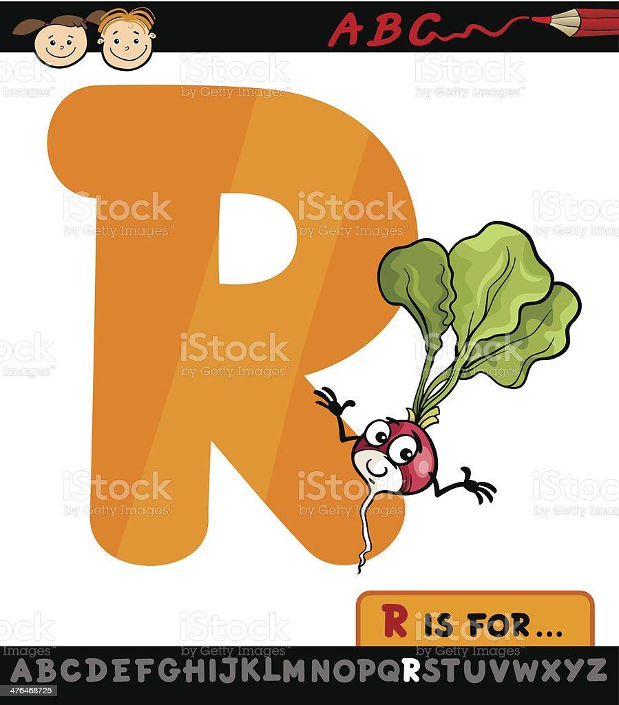letter r with radish cartoon illustration royalty-free stock vector art