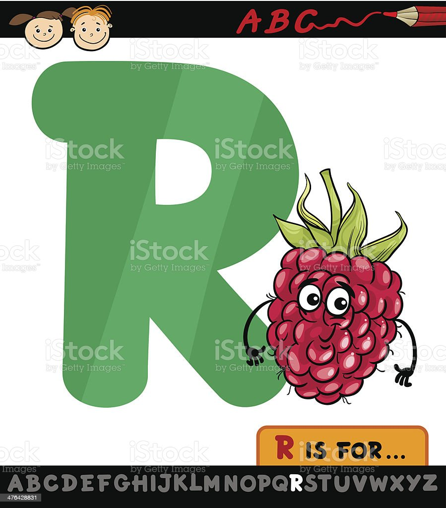 letter r with raspberry cartoon illustration royalty-free stock vector art