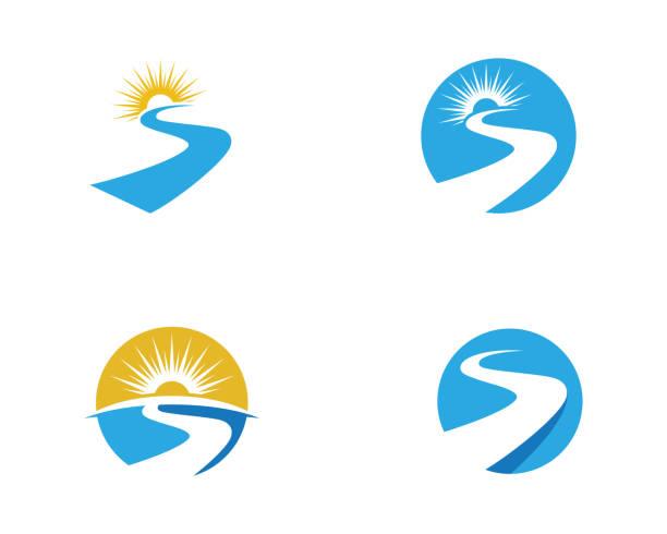 ilustrações de stock, clip art, desenhos animados e ícones de s letter river logo template - river