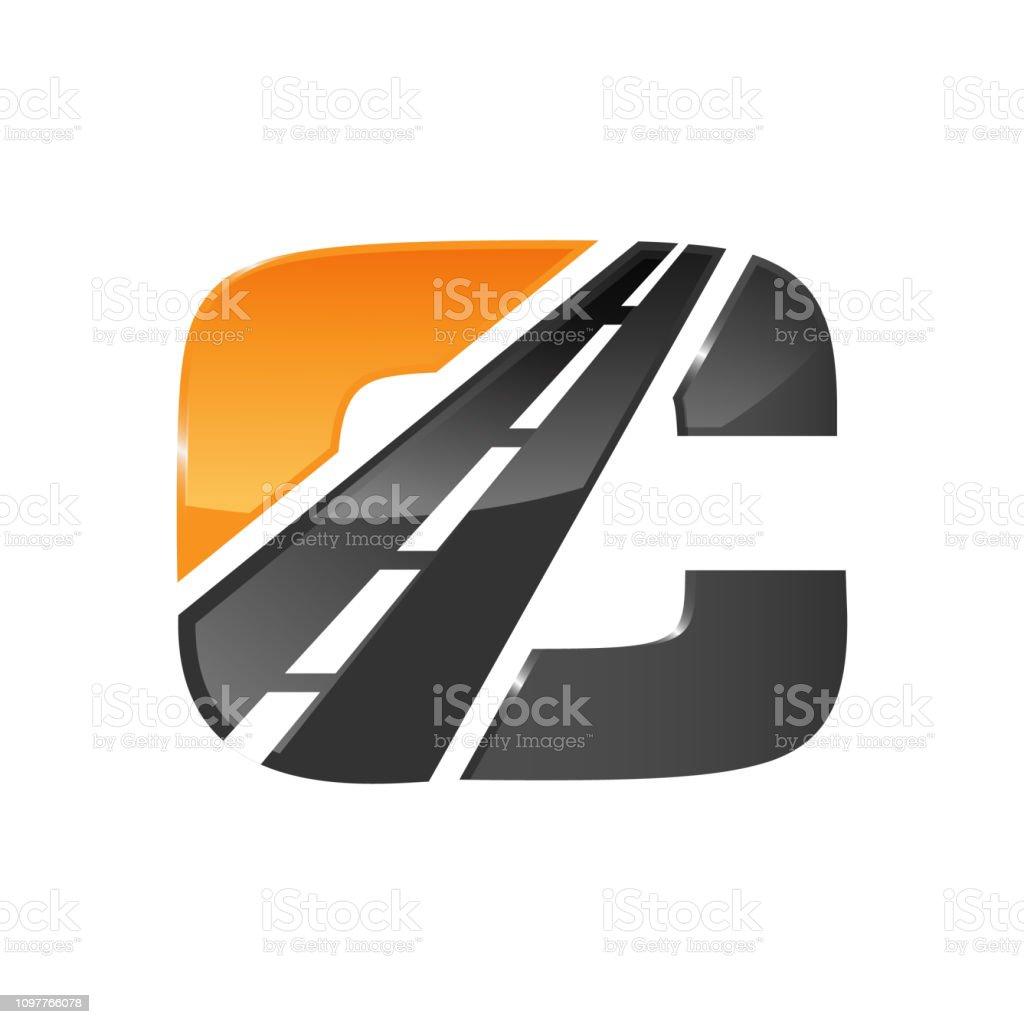 C letter road construction creative symbol layout vector art illustration