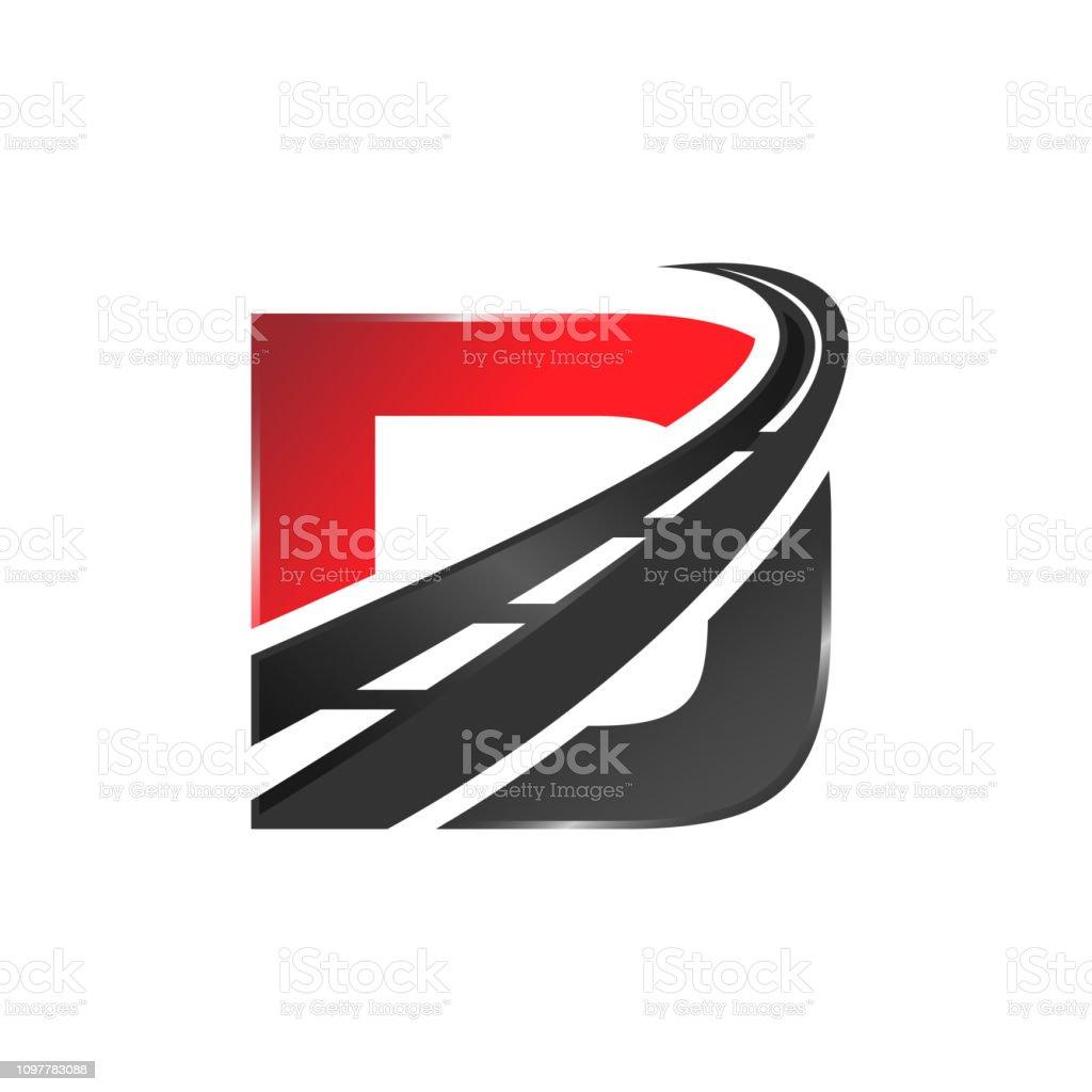 D letter road construction creative symbol layout vector art illustration