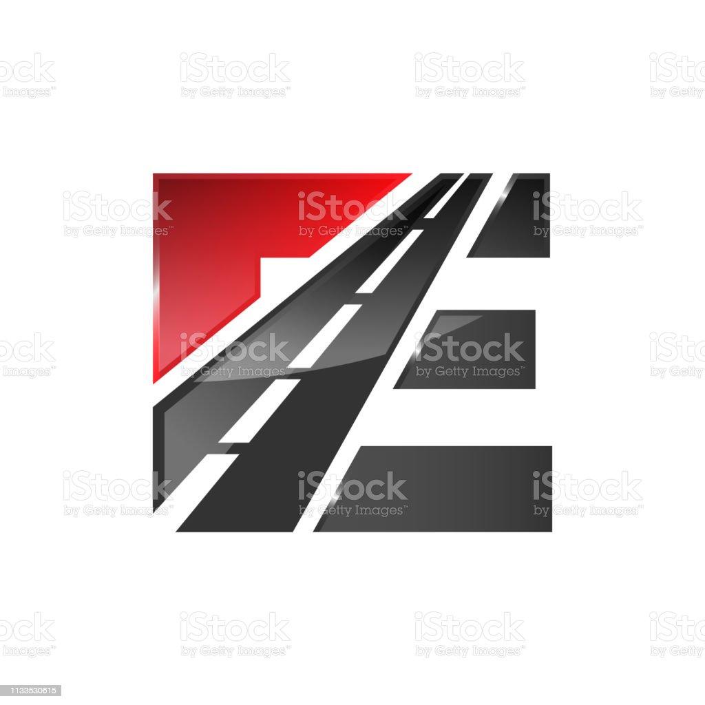 E letter road construction creative symbol layout vector art illustration