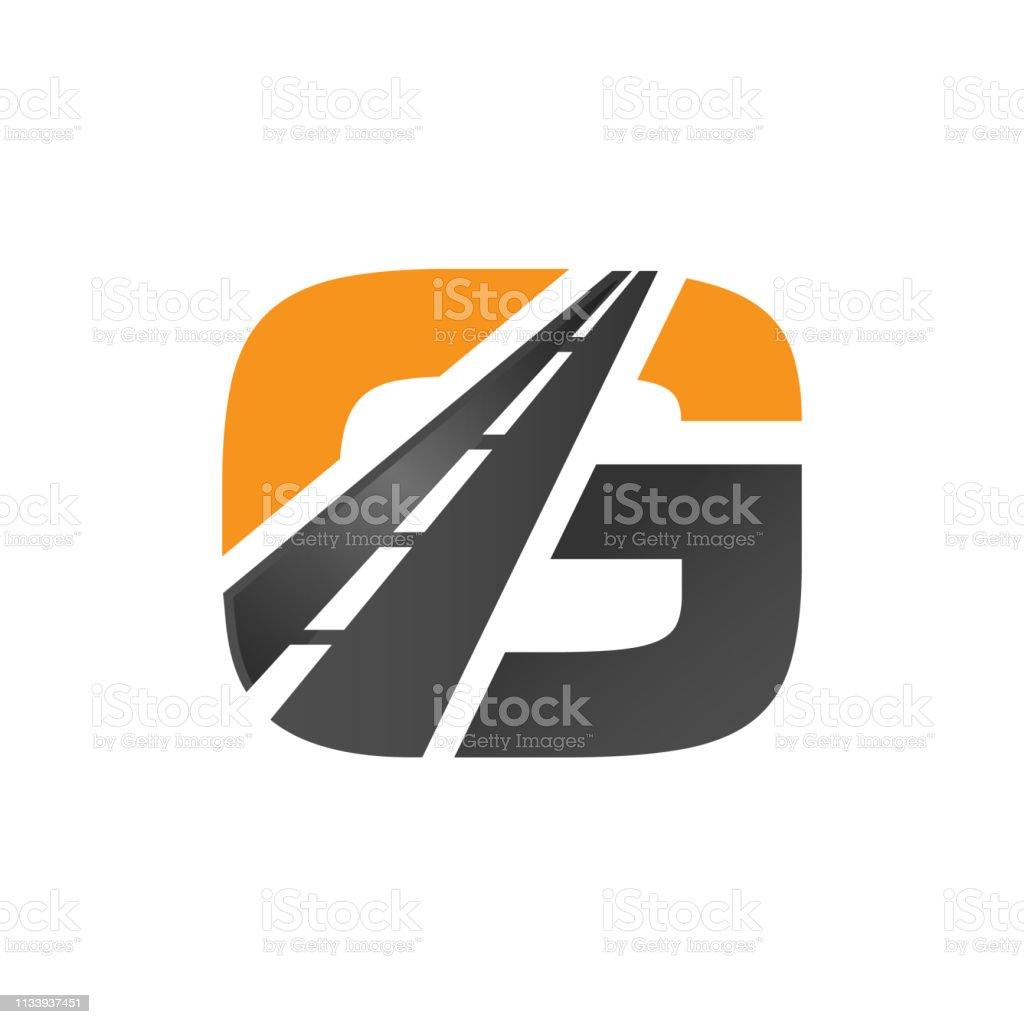 G letter road construction creative symbol layout vector art illustration