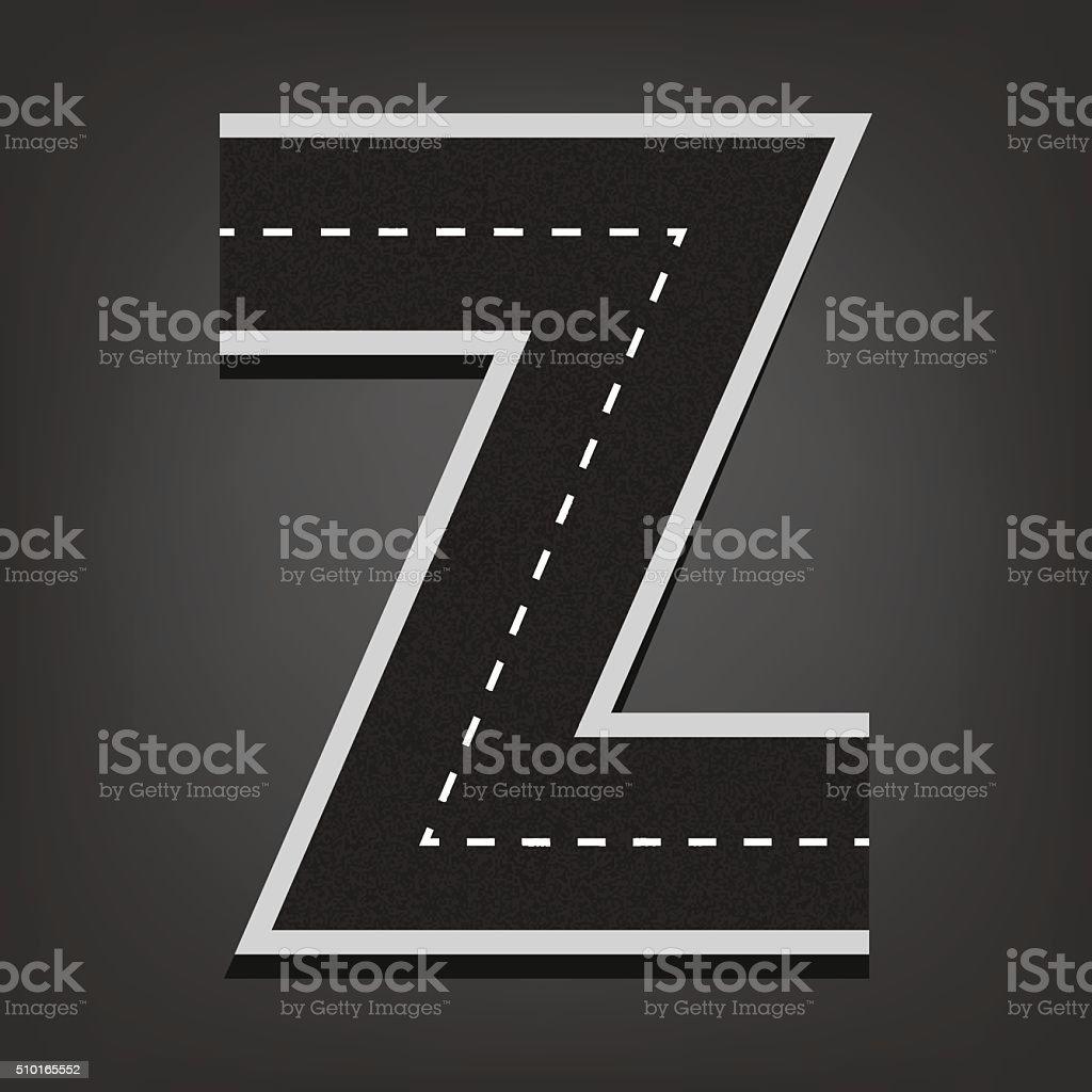 Z letter. Road font vector art illustration