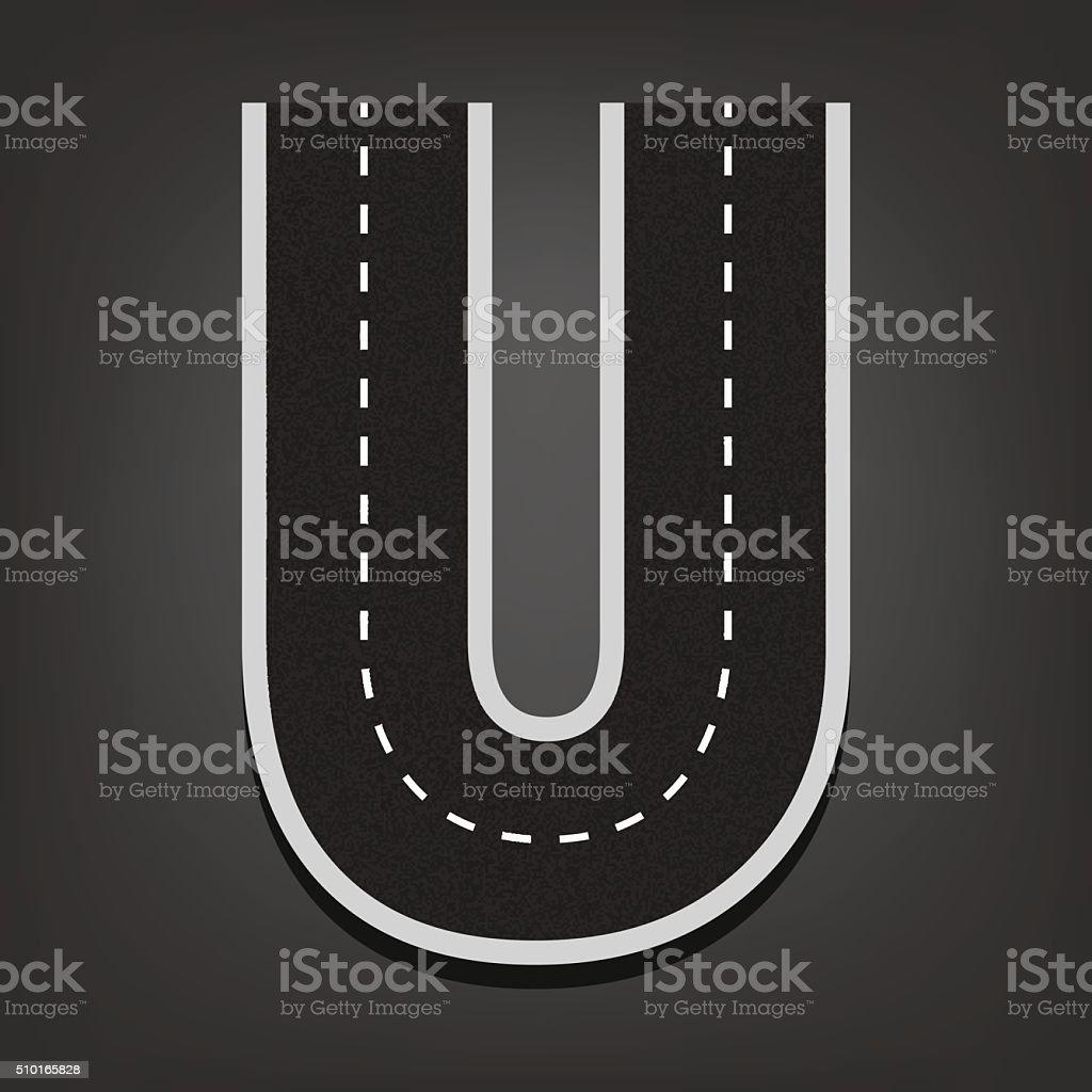 U letter. Road font vector art illustration