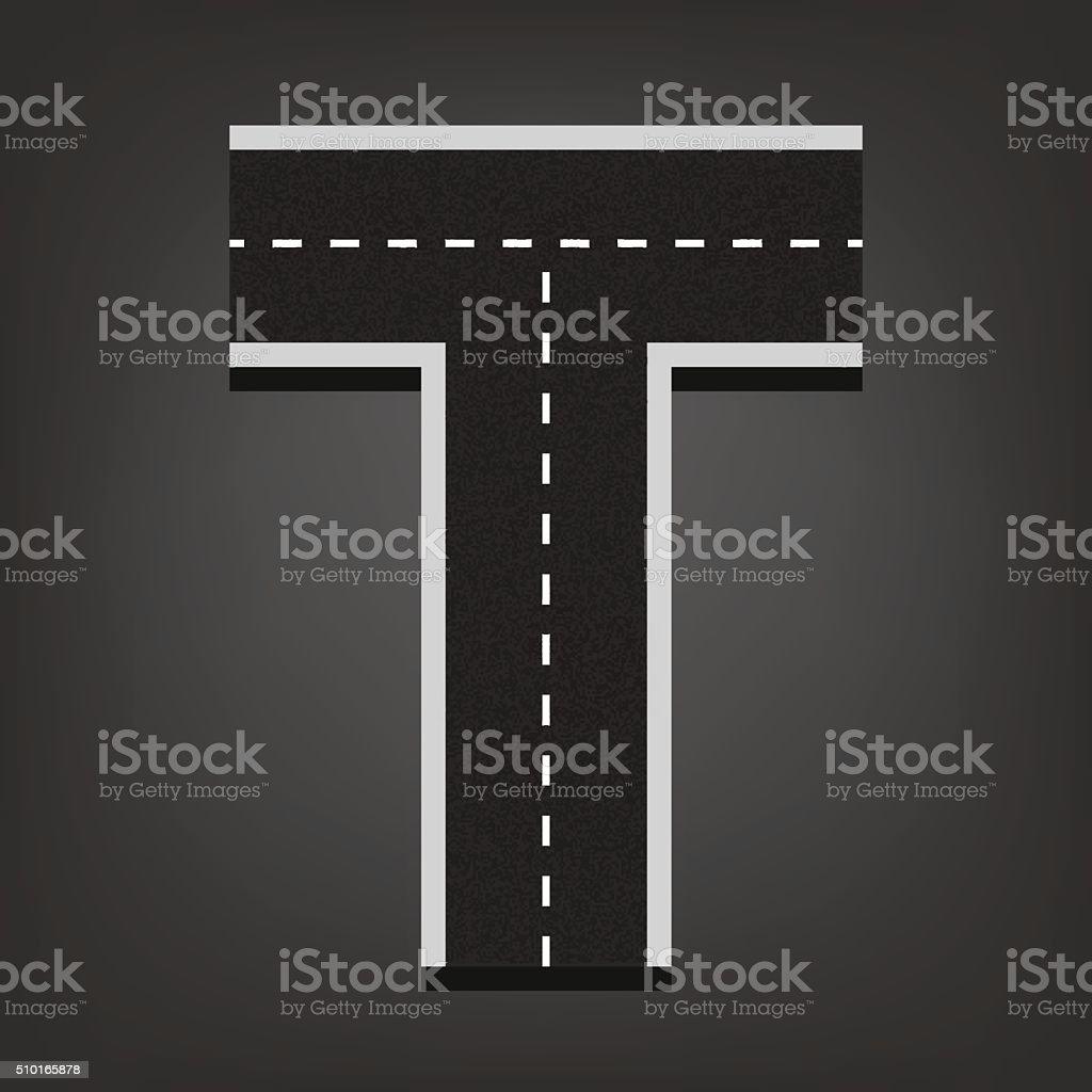 T letter. Road font vector art illustration