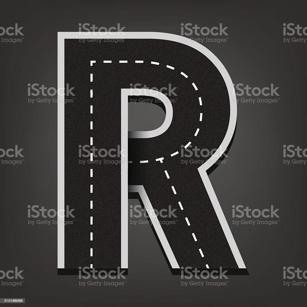 R letter. Road font vector art illustration