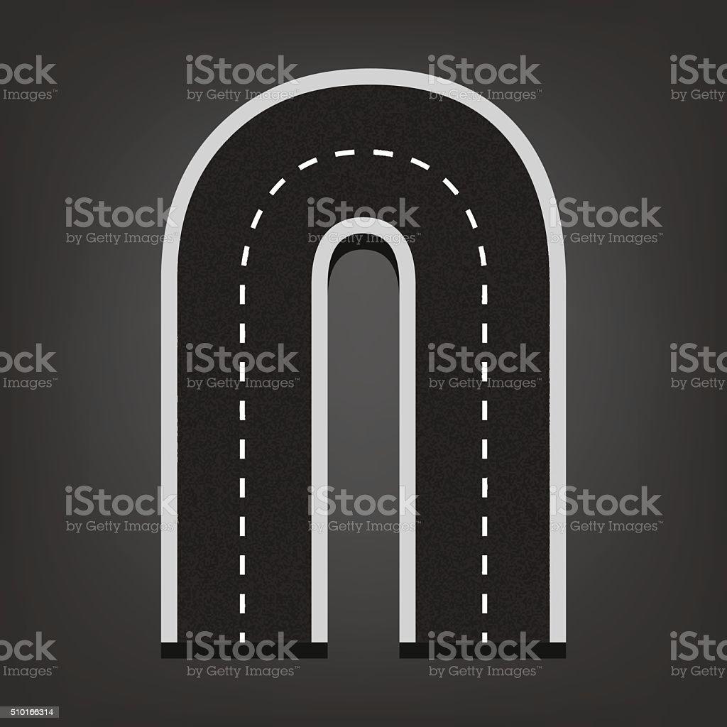 N letter. Road font vector art illustration