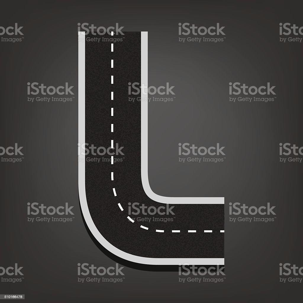 L letter. Road font vector art illustration