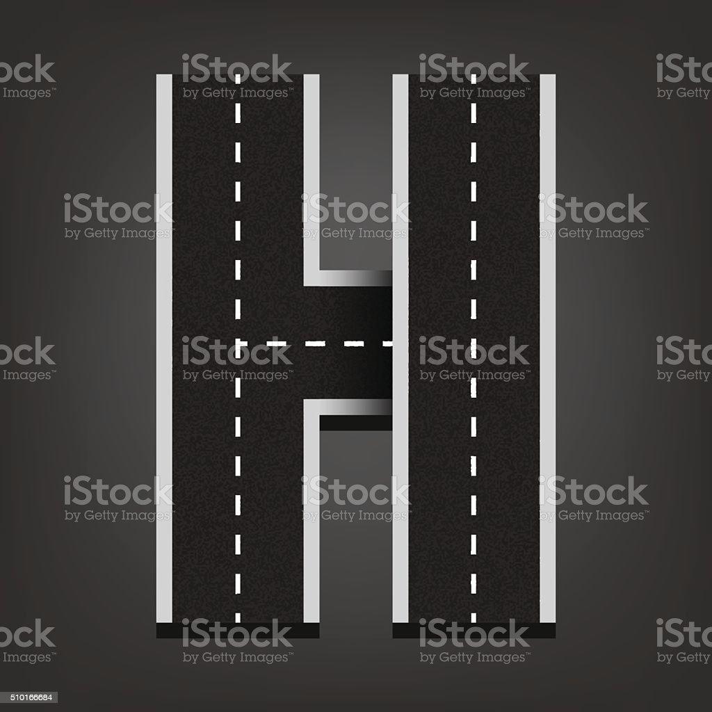 H letter. Road font vector art illustration