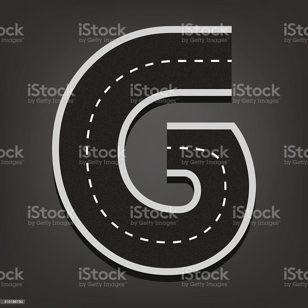 G letter. Road font vector art illustration