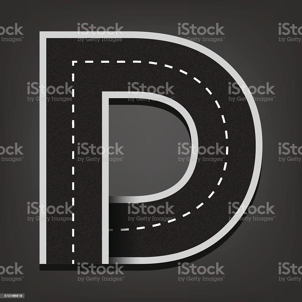 D letter. Road font vector art illustration