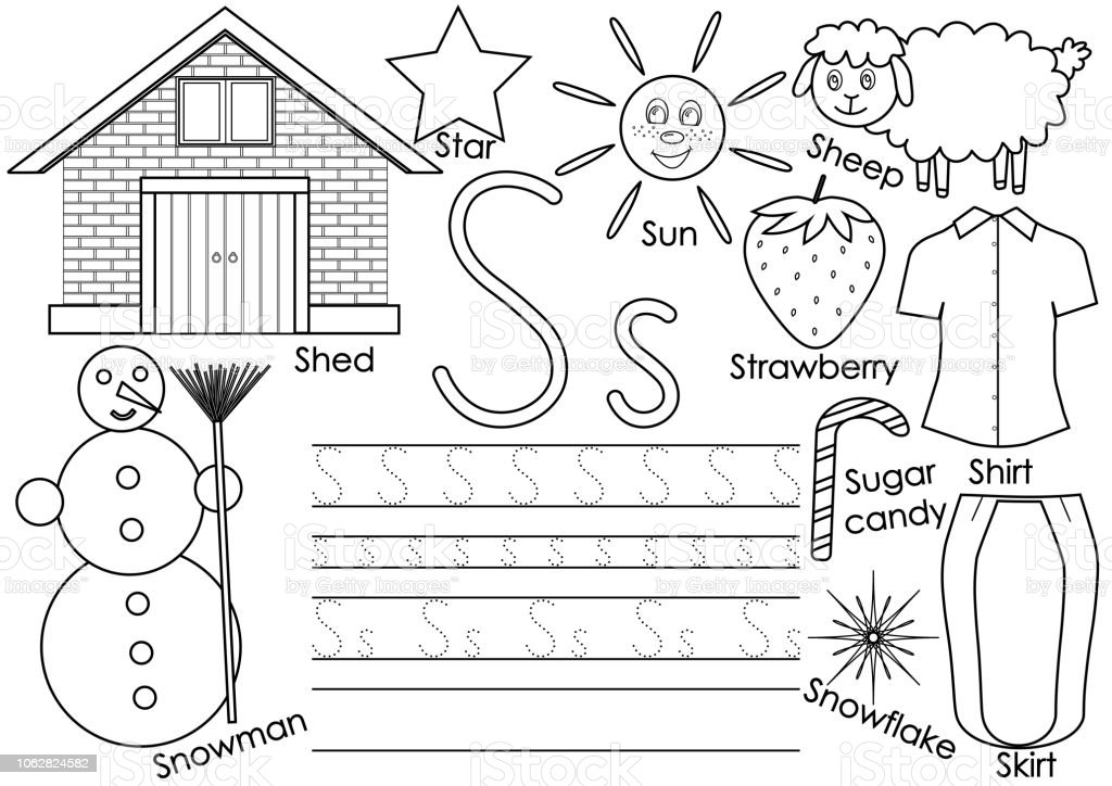 Letter S English Alphabet Writing Practice For Children Kids Game