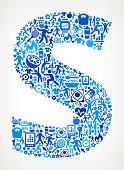 Letter S Fitness and Diet Icon Pattern. This 100% vector composition features the shape filed with a variety of fitness and diet icons. The icons form a seamless pattern that completely fills the outline of the shape. The fitness and diet icons are blue on a white background.