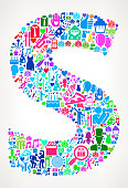 Letter S Happy Birthday Celebration Vector Icon Pattern. The main object depicted in this royalty free vector illustration is in the center of the composition and is composed of birth day icons. The icons are part of the birthday and celebration theme and vary in size and color. They form a seamless pattern and fill the outlines of the main object. The background is light with a slight gradient. Each icon can also be used independently of the icon pattern.