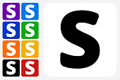 Letter S Icon Square Button Set. The icon is in black on a white square with rounded corners. The are eight alternative button options on the left in purple, blue, navy, green, orange, yellow, black and red colors. The icon is in white against these vibrant backgrounds. The illustration is flat and will work well both online and in print.