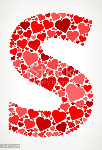 Letter S Icon with Red Hearts Love Pattern. The vector shape is filled with red heart pattern. The red color hearts vary in size, rotation and shade or the red color. The background is white with a slight gradient around the edges. This vector pattern graphic fill is perfect for Valentine's Day Holiday ideas.