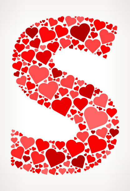 Letter S Icon With Red Hearts Love Pattern Vector Art Illustration