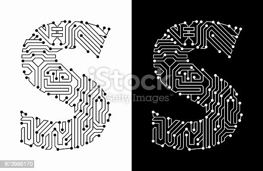 Letter S in Black And White Circuit Board Font. The text is rendered with the circuit board linear pattern and creates a seamless pattern that completely fills the outline of the text. The pattern is ideal for technology and innovation concepts. Two variations include in this illustration. The black wireframe circuit board in black on white background and the reverse white text on the black background.