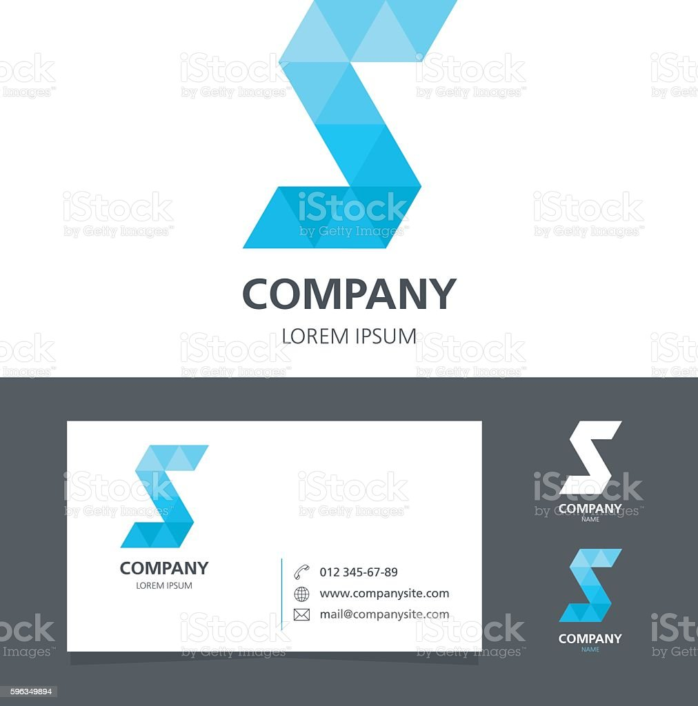 Letter S - Logo Design Element with Business Card - illustration royalty-free letter s logo design element with business card illustration stock vector art & more images of abstract