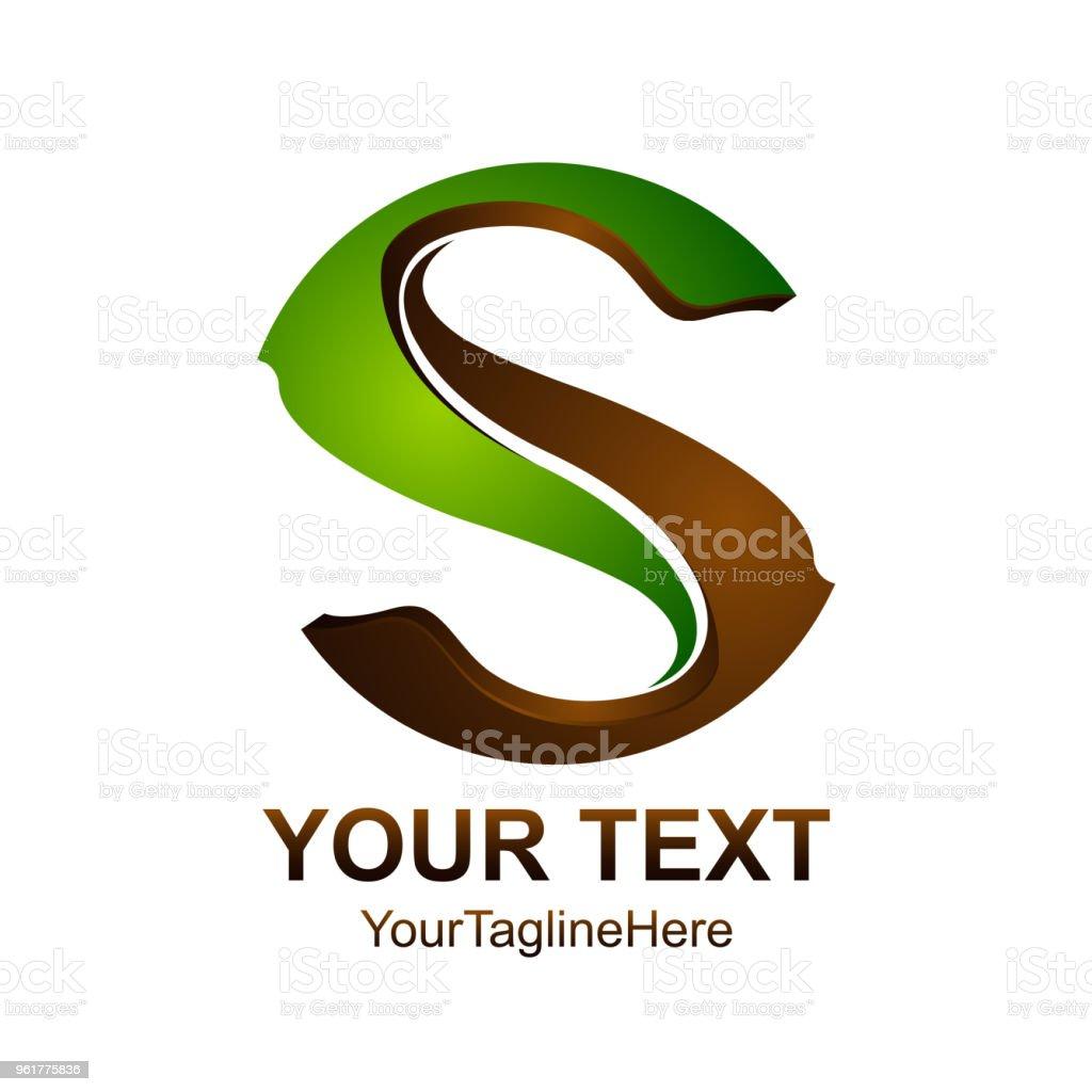 d25ea35b2 Modelo de design de logotipo letra S colorido design marrom verde para a  identidade do negócio