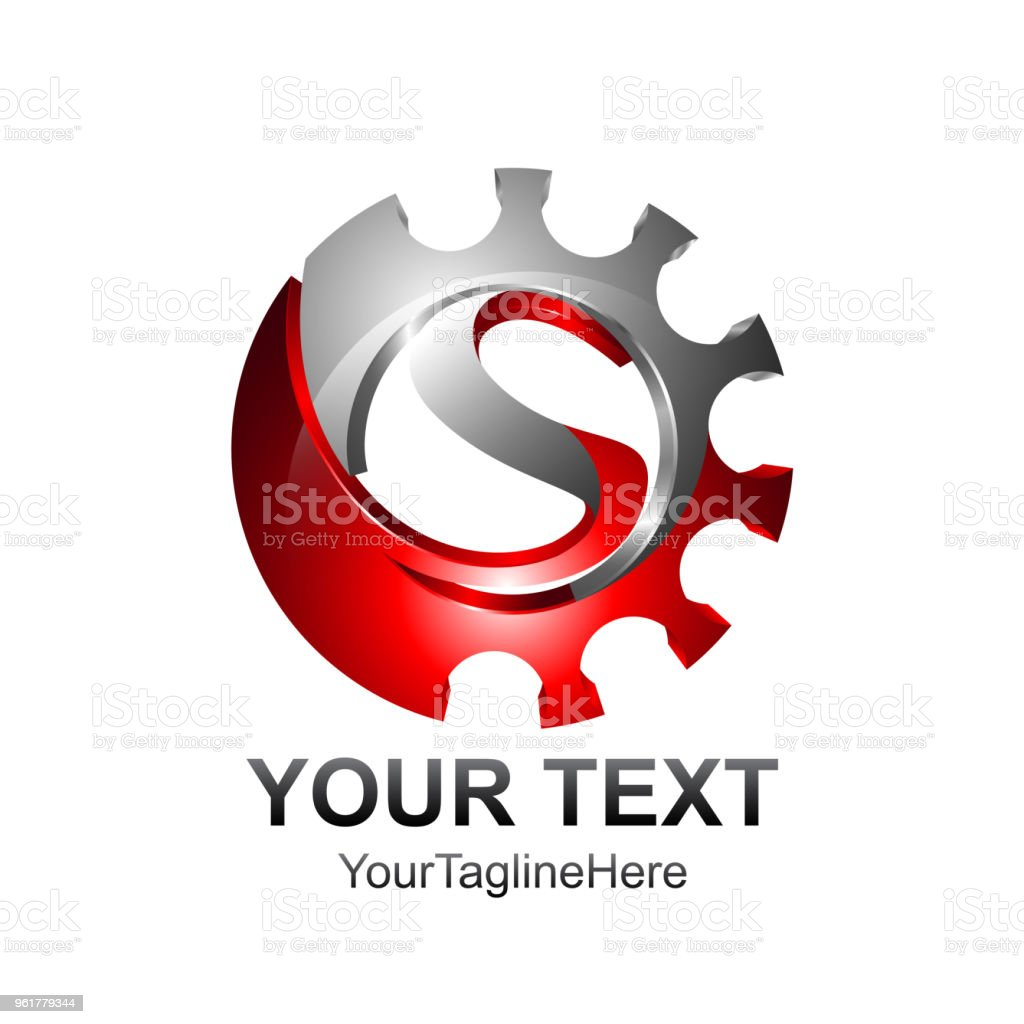 letter s logo design template colored red silver gear design for business and company identity