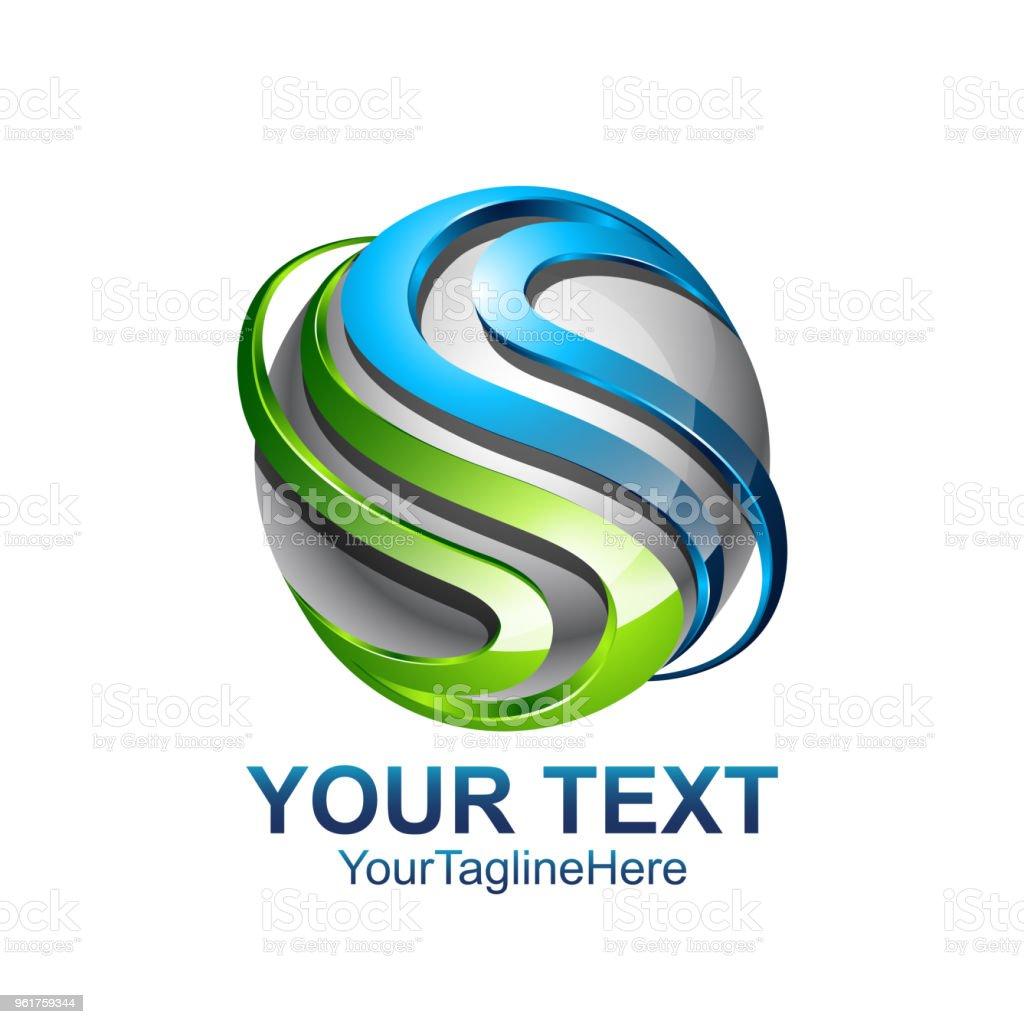 e825e9265 Modelo de design de logotipo letra S cor prata círculo verde azul esfera  design para a