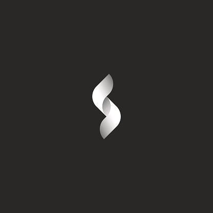 Letter S logo mockup, monogram black and white ribbons intertwined with a smooth rounded lines, feminine geometric shapes initials for emblem business cards