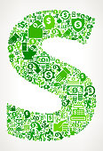 Letter S Money and Finance Green Vector Icon Background. This money and finance vector composition features the main design element in the center and is surrounded by a variety of green icons. The icons include such popular financial items as money, dollar, and dollar bill, coins, and many more. Figures of man and women are also present to give the background a human touch. Ideal for wealth, business and money concepts.