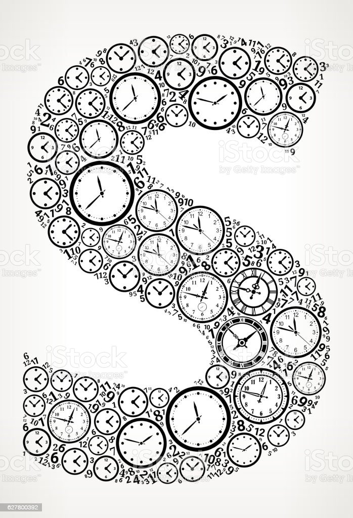 Letter S On Time And Clock Vector Icon Pattern Vektor Illustration ...