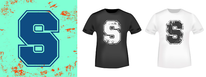 Letter S retro t-shirt print stamp for tee, t shirts applique, vintage fashion, badge, label clothing, jeans, and casual wear. Vector illustration