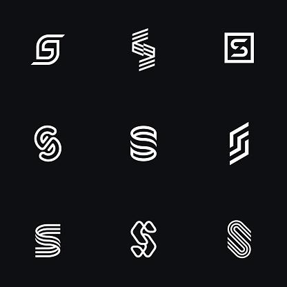 "Letter ""S"" simple logos set."