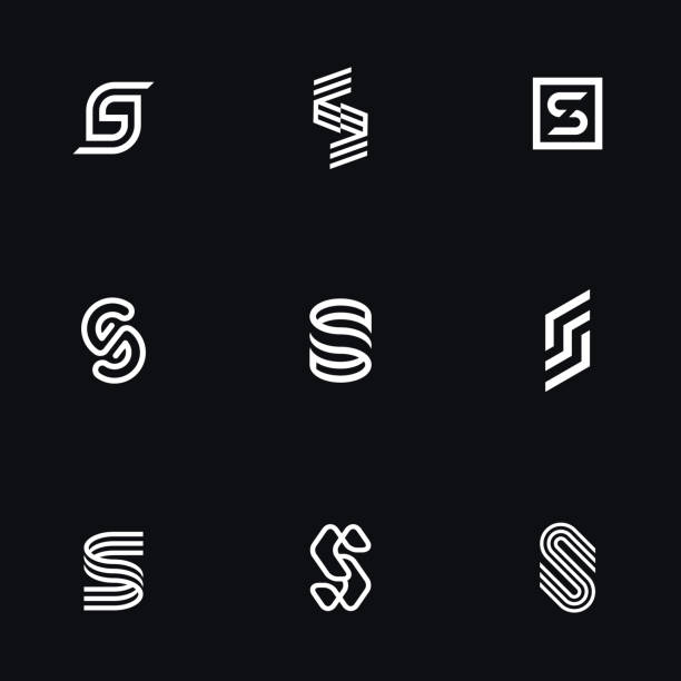 """Letter """"S"""" simple logos set. Letter """"S"""" simple logos set. Original geometric forms for logotype. Eps10 vector. alphabet icons stock illustrations"""