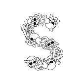 Letter S skeleton Bones Font. Anatomy of an alphabet symbol. dead ABC sign