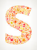 Letter S on Summer & Vacation Icon Pattern