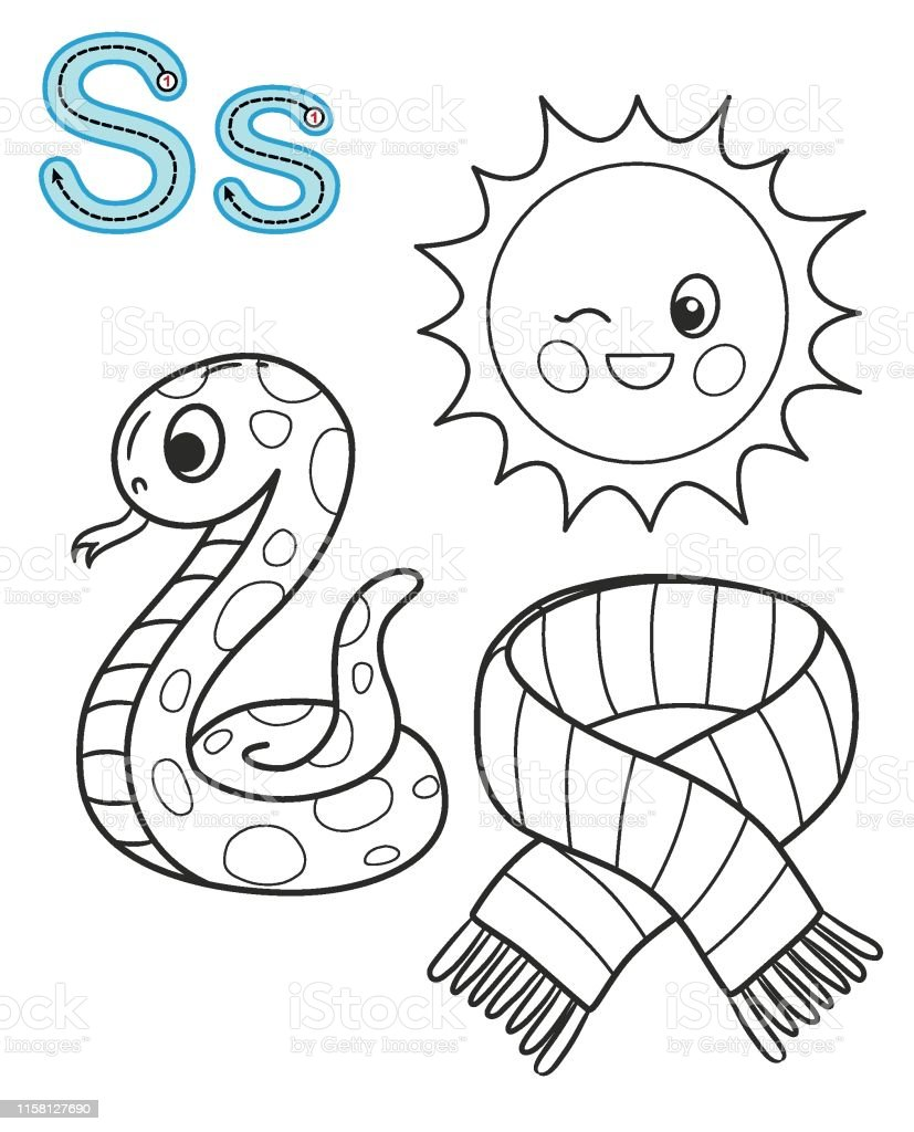 photo relating to Snake Printable titled Letter S Sunlight Snake Scarf Vector Coloring E-book Alphabet