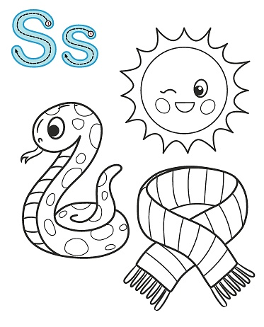 letter s sun snake scarf vector coloring book alphabet printable coloring page for kindergarten