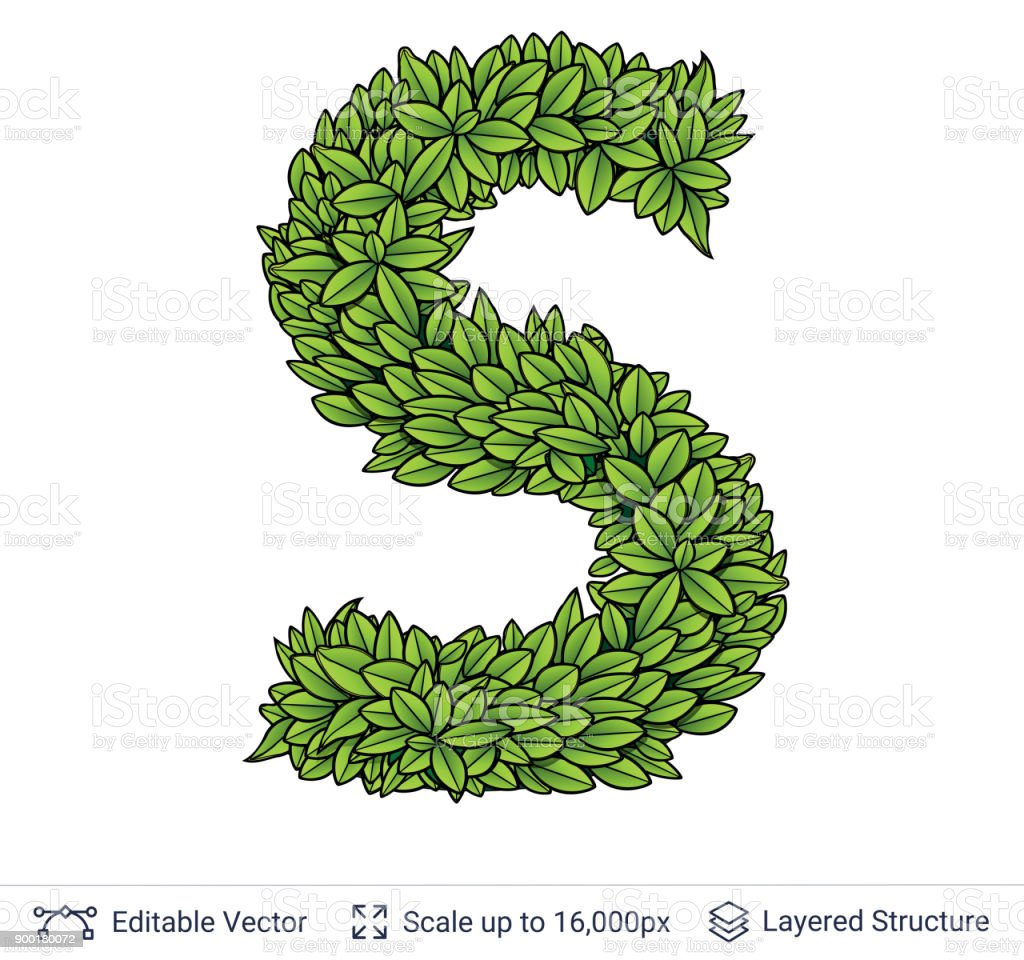 Letter S Symbol Of Green Leaves Stock Vector Art More Images Of