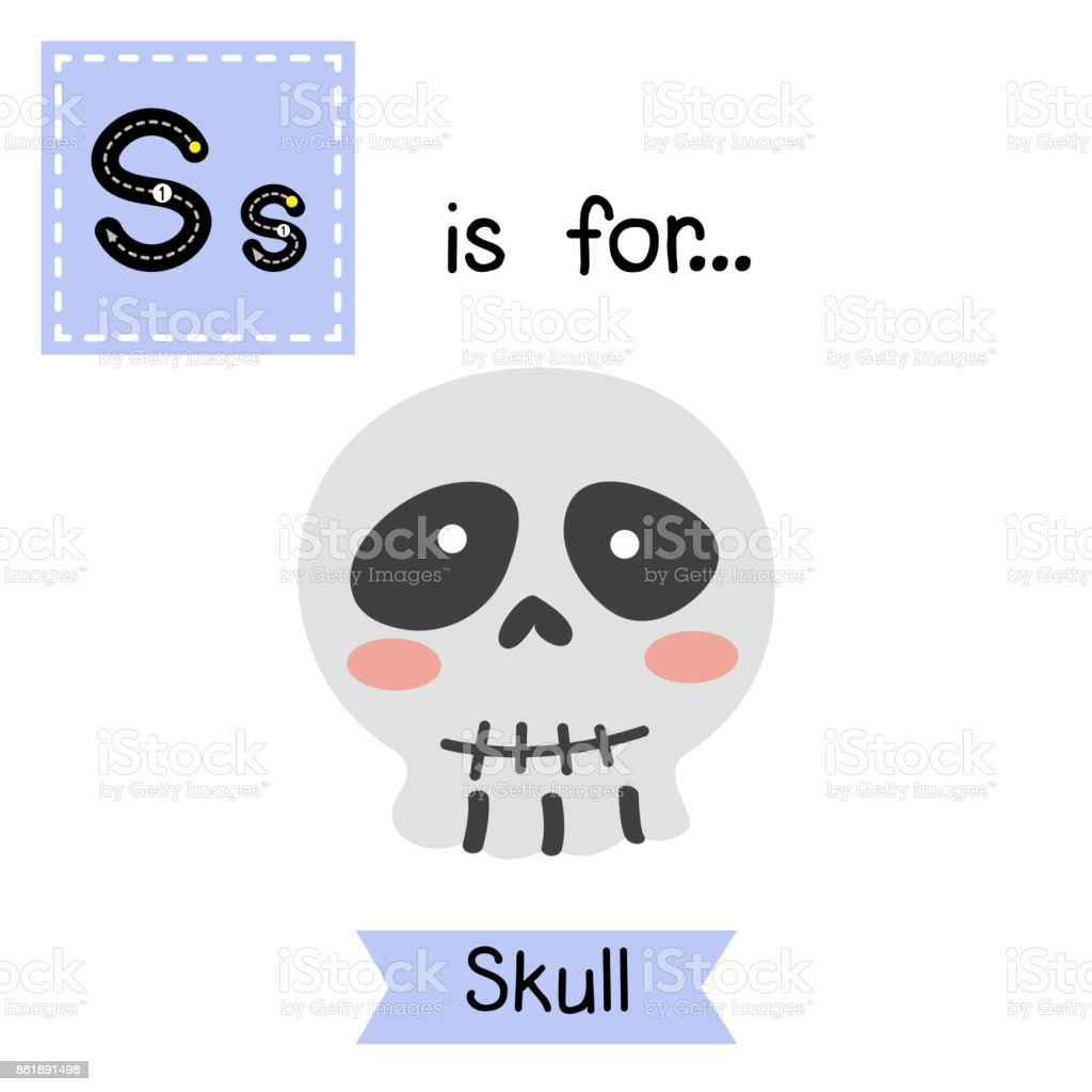 Letter S Tracing Skull Stock Vector Art More Images Of Alphabet
