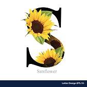 Letter S vector alphabet with sunflower. ABC concept.