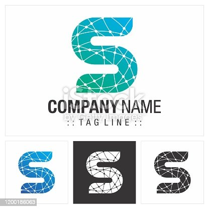 Motherboard Connectors Technology Style Icon Illustration. Elegant Identity Concept Design Idea Brand Template. Letter S (Typography) Vector Symbol Company.