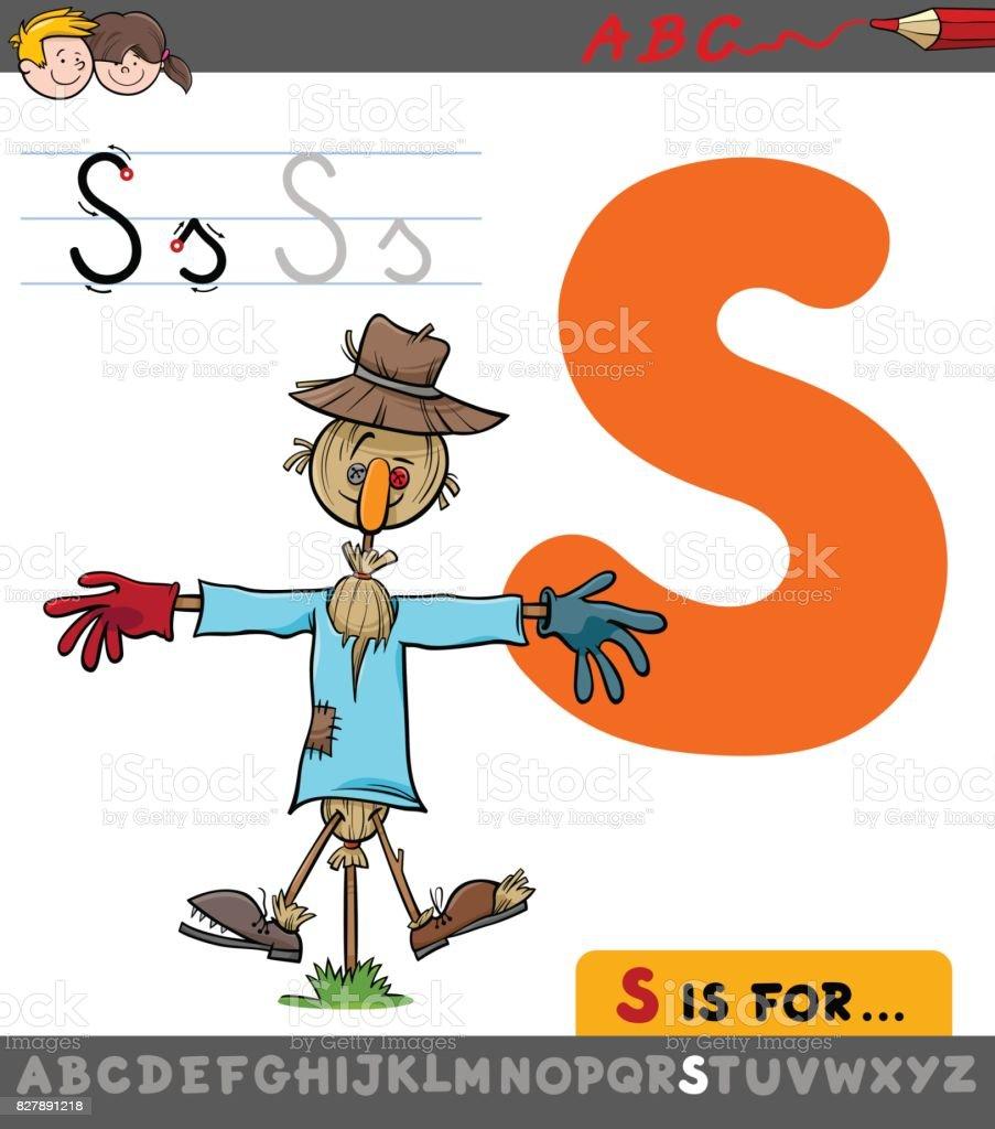 Ilustración De Letra S Con Espantapájaros De Dibujos Animados Y Más