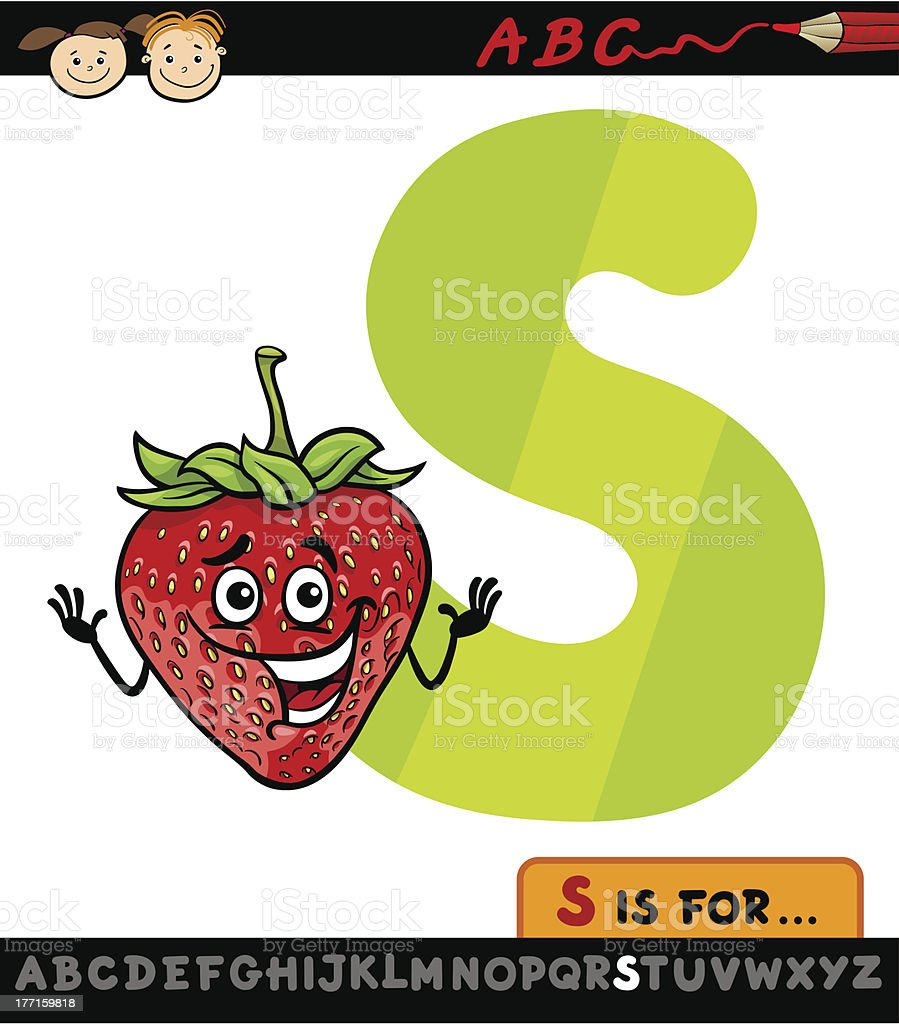 letter s with strawberry cartoon illustration royalty-free letter s with strawberry cartoon illustration stock vector art & more images of alphabet