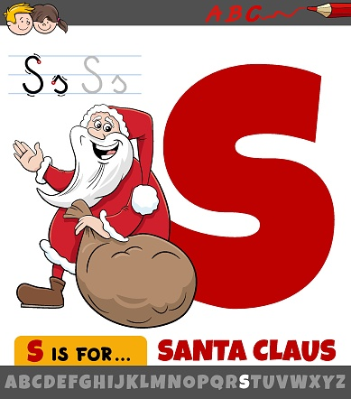 Educational cartoon illustration of letter S from alphabet with Santa Claus Christmas holiday character for children