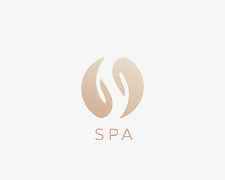 SPA, letter S, yin yang, hands logotype. Relax massage care vector logo.